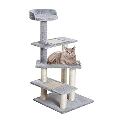 Pawhut Cat Tree Kitten Scratch Scratching Scratcher Sisal Post Climbing Tower Activity Centre 101cm Grey by Sold by MHSTAR