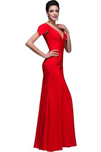 Sunvary collo a V, con fondina, per abiti da sera Pageant Rosso