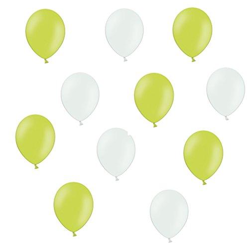 50 Premium Luftballons in Apfelgrün/Weiß - Made in EU - 100% Naturlatex somit 100% giftfrei und 100% biologisch abbaubar - Geburtstag Party Hochzeit Silvester Karneval - für Helium geeignet - twist4®