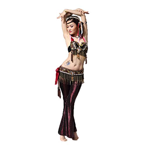 CX Erwachsene Dame Belly Dance Tribal Wind Kostüm Performance Set (Farbe : Jujube, größe : S)