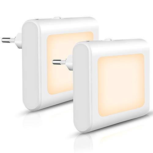 Opard Nachtlicht Steckdose Dimmbar mit Dämmerungssensor, Energiesparend Baby Licht Automatisch Orientierungslicht für Kinderzimmer Flur Treppe, Warmweiß, 2 Stück