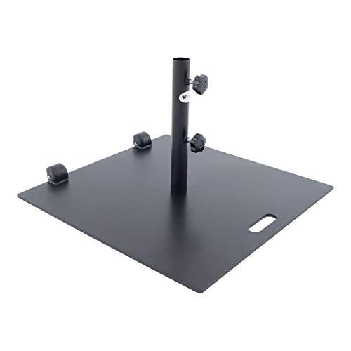 SORARA Sonnenschirmstander Rollen | Schwarz | 60 x 60 cm Mastdurchmesser Ø 48 mm | 24 kg | Viereckig