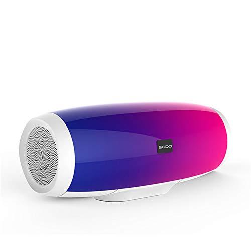 GMtes Bluetooth-Lautsprecher mit Lichtshow 3D-Sound Drahtloses 10-W-System TF FM-Radio Musik-Subwoofer-Säulenlautsprecher Bluetooth 4.2,White