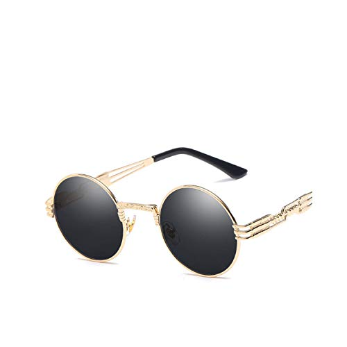 Sport-Sonnenbrillen, Vintage Sonnenbrillen, Vintage Retro Gothic Steampunk Spiegel Sunglasses Gold And Black Sun Glasses Vintage Round Circle Men UV Gafas De Sol Gold Gray