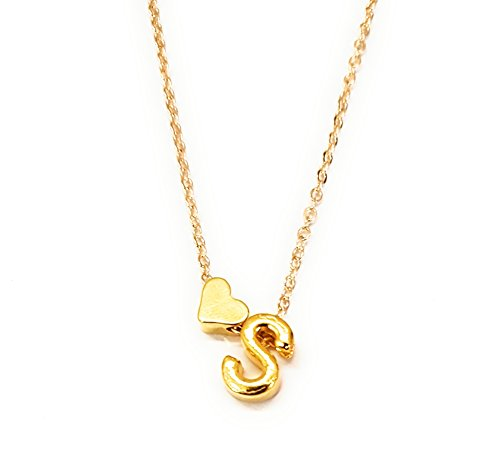 MYKI Fashion Personalized Love Heart 'S' Letter Alphabet Pendant Necklace Initial Necklaces Charms for Women Mini Jewelry Chain…
