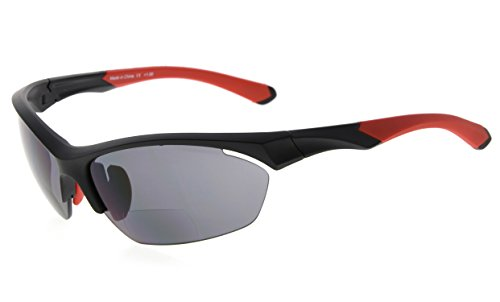 Eyekepper TR90 Sport Bifokale Sonnenbrille Baseball Laufen Angeln Fahren Golf Softball Wandern Halbrandlose Lesebrille (Schwarzer Rahmen Roter Tempel, 2.50)