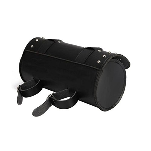 Faux Leather Motorcycle Harley Saddle Bags Tool Luggage Rolls Front Fork Bags with 2 Buckle Straps