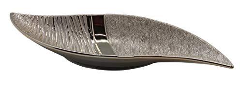 Dreamlight Moderne Dekoschale Obstschale Schale aus Keramik Champagner-Silber Länge 40 cm
