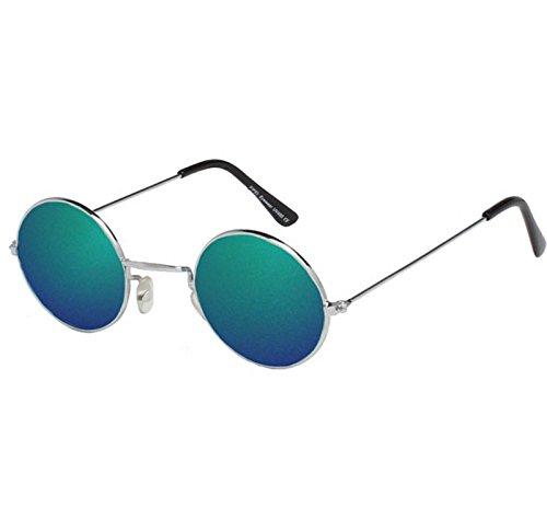 VIZ-UK WEAR Silber Rahmen mit grün Objektive Unisex Hohe Qualität John Lennon Type rund Sonnenbrille NEU