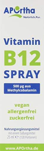 APOrtha Vitamin B12 Spray | 500 µg Methylcobalamin | veganes Mundspray | 25 ml – reicht für 120 Portionen