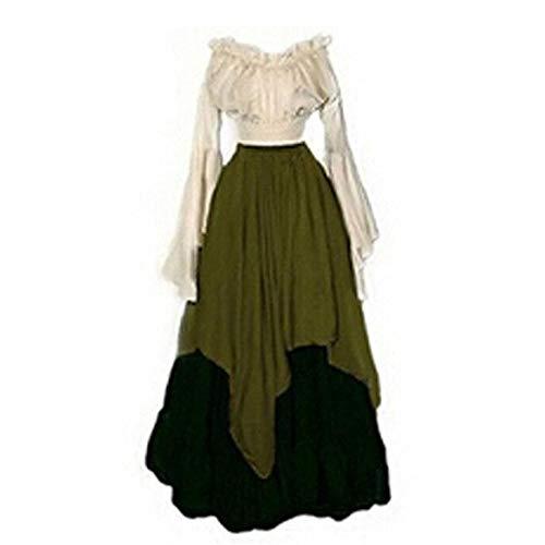 Renaissance Kostüm Green - YXRL Mittelalterliches Renaissance Vintage Kleid Cosplay Kostüm Damen Maxi Kleid Green-XXL