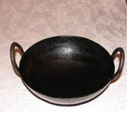 Dhavesai Handmade Iron Kadai, 13-inch (Black)