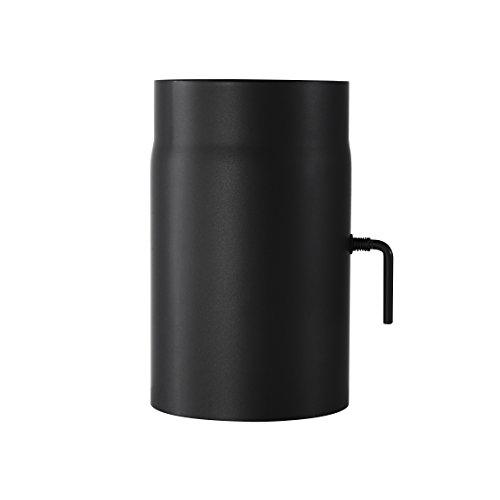 Ofenrohr Senotherm® mit Drosselklappe Wandstärke 2 mm Ø 150 hitzebeständig lackiert - Rauchrohr, Kaminrohr schwarz - für Kaminöfen - Länge: 250 mm