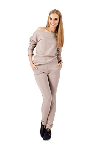 Damen Eleganter Jogginganzug Freizeit, Haus, Fitness-Anzug, 2 Teiler Gr. S M L, M116 Cappuccino M/38