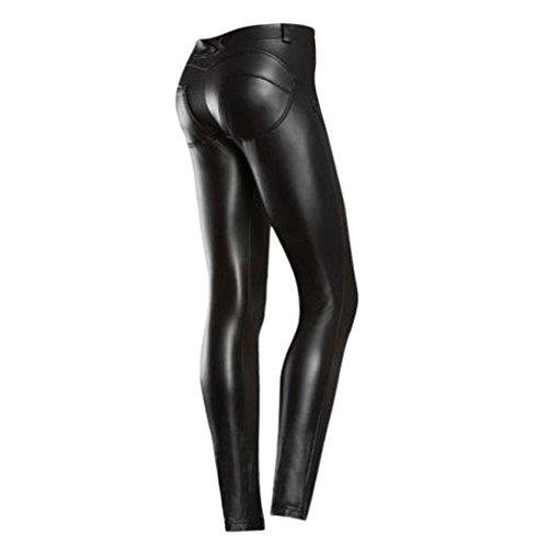 semen Damen Kunstleder Leder High Waist Leggings Hose Strumpfhosen Treggins Leggins Kunstleder Leggings Leder Look