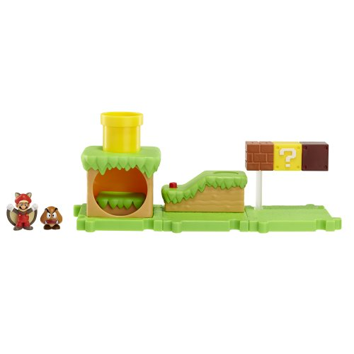 Preisvergleich Produktbild Nintendo JAKKNIN018APFSM - World of Micro Land Playset - Acorn Plains mit Flying Squirrel Mario Figure