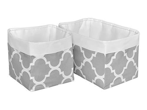 KraftKids Stoff-Körbchen in Uniweiss marokkanisches Klee grau, Aufbewahrungskorb für Kinderzimmer, Aufbewahrungsbox fürs Bad, Größe 20 x 20 x 20 cm (Gast Handtücher)