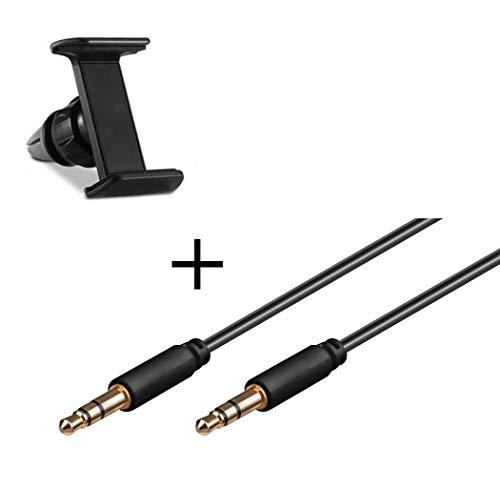 kit auto per wiko view 3 lite smartphone (supporto auto regolabile + cavo doppio jack musicale) universale