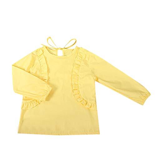 squarex ® Mädchen Rüschenhemd Kleinkind Schnürung Einfarbiges T-Shirt Langarmshirts Babyhemd Kinder Casual Tops Bequeme Kleidung (Junioren Weißen Socken)
