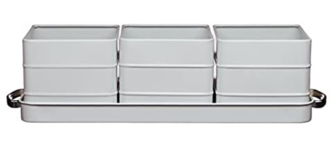 KitchenCraft Living Nostalgia Indoor Metal Herb Pots and Tray Set, 40 x 12 x 10.5 cm - French Grey