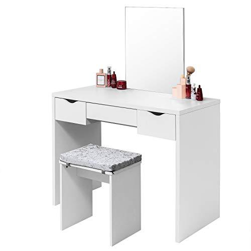 EUGAD Schminktisch mit Hocker, einem große Spiegel und 3 große Schubladen, 100x49,5x129,5cm(L*B*H), Schreibtisch Kosmetiktisch Set mit große Tischplatte, Weiß