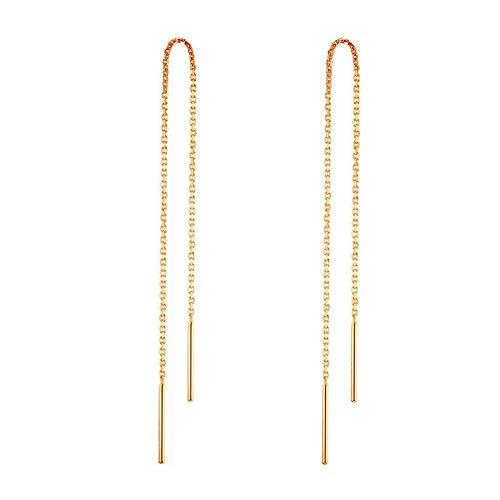 925 Sterling Silber Stäbchen Durchzieher Ohrringe Lange Quaste Einfädler Ohrringe für Frauen Mädchen (Gold)