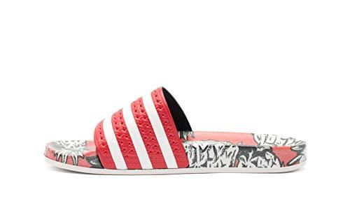 Adidas adilette w scarpe da spiaggia e piscina donna,rosso (scarlet/off white/scarlet), 42 eu