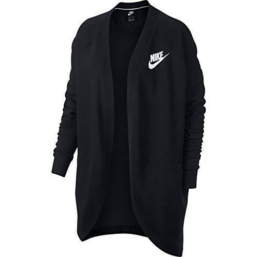 Nike Damen Rally Top Rib Cardigan, Black/(White), S (Winter Nike Damen Jacke)