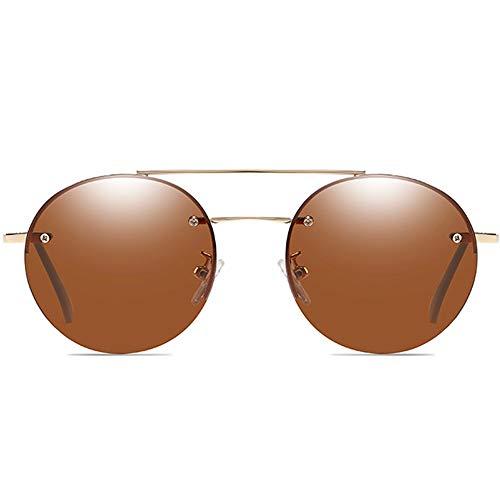 FURUDONGHAI Klassische Neue Legierung Material Sonnenbrille Goldrahmen blau/braun Objektiv Männer und Frauen mit der gleichen polarisierten Sonnenbrille Fahren besonders geeignet für sommerreisen od
