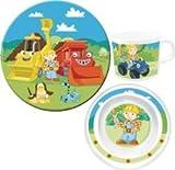 Kindergeschirr Set 3-teilig Melamin Bob der Baumeister bestehend aus 1 x Teller, 1 x Schale, 1 x Tasse (spülmaschinengeeignet)