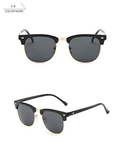 Wang-RX Classic Half Frame Square Sunglasses Men Women Vintage Coating Mirror Fashion Sun Glasses Female Uv400