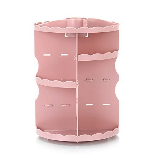 Ysy Trousse De Maquillage Rotative De Table Ronde Trois Couches Stockage Salle De Bains De Cosmétiques Table De Soins De La Peau Portable,Pink