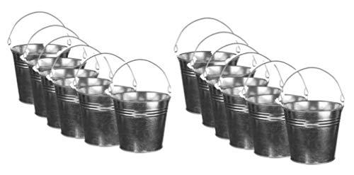 r aus Zink, silberfarben, Shabby-Chic-Stil, Party-Hochzeits-Gastgeschenke/Miniatur-Garten-Bastelzubehör/Geschirr für Marmeladen, Saucen, Dips. 5,5 cm 12 BUCKETS ()