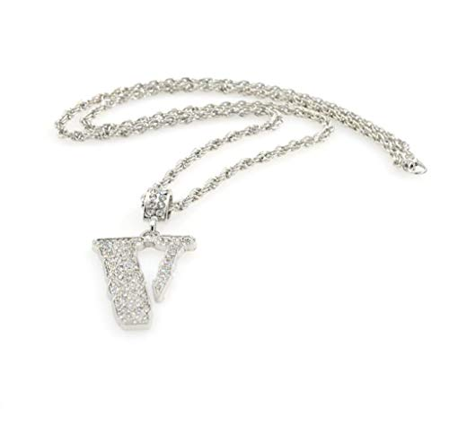 WoWer Männer und Frauen Halskette Metallanhänger Kristall Diamanten glänzend V-förmige Halskette Straße Hip Hop Nachtclub Modetrend Wilden Schmuck -