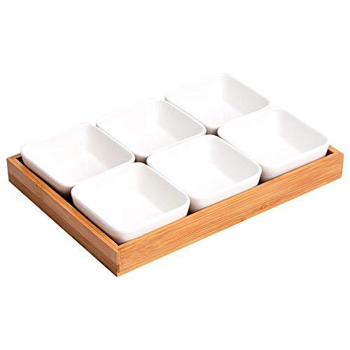 Sanmubo Ceramic Tray Bamboo Sauce Dish Geschirr Ceramic Snack Serving Tray Feuchtigkeitsbeständige Schalen für Essen Tabletop Serviertabletts für Partys Serviertabletts für Partys mit Rack-Halter Keramik Relish Tray