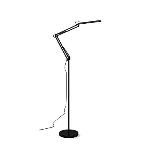 Einfache LED-Stehlampe, Wohnzimmer-vertikale Augen-Schutz-Schreibtisch-Lampe, freie drehende Bett-Leselampe, Klipp-Art Doppelbenutzungs-Stehlampe, Noten-Farbanpassung, H180cm (Color : Black) -