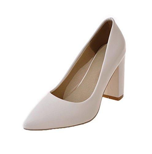 AgooLar Damen High-Heels Rein Ziehen auf Schließen Zehe Pumps Schuhe, Cremefarben, 40