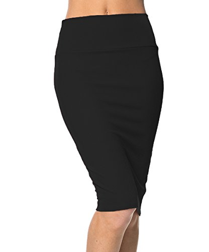 Urbancoco Damen Bleistift Rock Kurz Hohe taille Stretch Business Rock (M, schwarz) (Stretch-baumwolle-bleistift-rock)