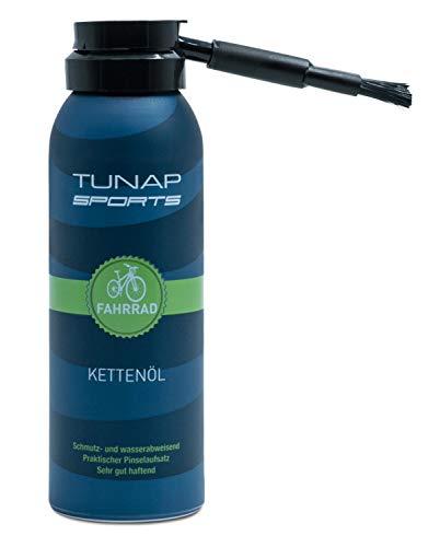 TUNAP SPORTS Kettenöl Spray und Dosier-Pinsel, 125 ml | Fahrrad Langzeit-Schmierung für Ritzel, Schaltwerk und Kette (125ml 2017)