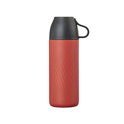 Edelstahlflasche Sportflasche doppelwandig vakuumisolierte Kaffeekanne 301mL - 400mL (Color : Red, Größe : 6.8 * 20.2cm) ()