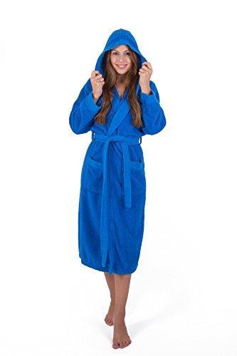 Julie Julsen flauschiger Bademantel für Damen & Herren in den Größen S-XXXL und aktuellen Farben - Saunamantel Morgenmantel Baumwolle Kapuze Royal Blau XL Royal Blau
