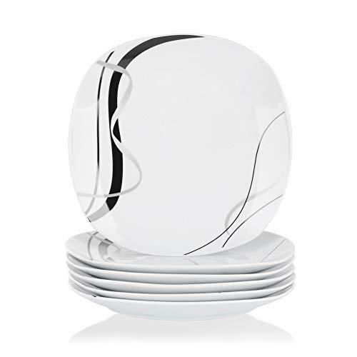 VEWEET Porzellan Dessertteller 'Fiona' 6-teilig Set | Durchmesser 19,2 cm | Ergänzung zum Tafelservice 'Fiona' | Kuchenteller für 6 Personen (Stapelbar Dessertteller)