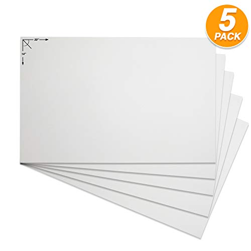 Emraw Postertafel, stabil, weiß, blanko, für Scrapbooking, blanko, für Kunst- und Bastelprojekte, blanko, 5 Stück pro Packung (2 Stück) (22 x 14) (2. Bau-einladungen)