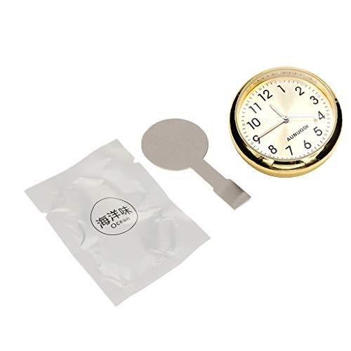 Shiwaki Auto Armaturenbrett Uhr Klassische kleine runde Tabelle Onboard Quarzuhr mit belichtetem Licht Mini Nachtleuchtende Uhr für Auto Dekoration - Golden, 4 cm -