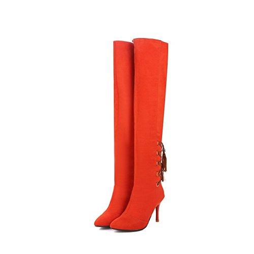 VogueZone009 Donna Tirare Tacco Alto Puro Alta Altezza Stivali con Nodo Arancio