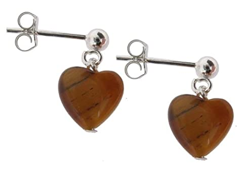 Earth Brown Tiger's eye Heart Drop Earrings on Sterling Silver Ball Stud - from the Earth Collection