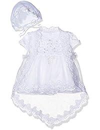 Cinda Vestido de fiesta de bautizo de marfil de niña bebé capó ...