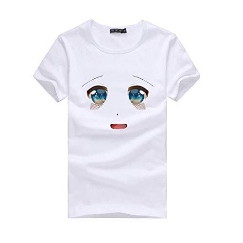 Surttan Damen Sommer Kurze Rundhals Ärmel T-Shirt Lose Casual Plus Größe Mode Ausdruck drucken Beiläufig Streetwear Sweatshirt Freizeit Polyester Bluse
