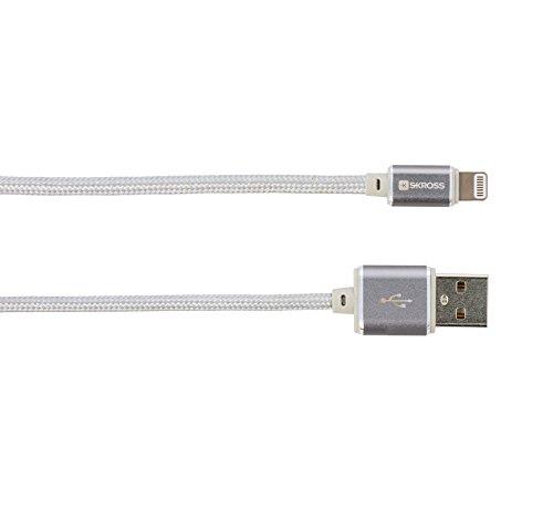 Skross Charge'n Sync - Steel Line 1m USB A Lightning Plata - Cable USB (USB A, Lightning, Macho/Macho, Derecho, Derecho, Plata)