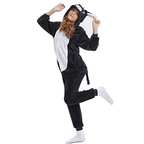 Kigurumi Pyjama für Kinder, Unisex, mit Kapuze, für Mädchen und Jungen, aus Flanell, für Halloween, Cosplay und Partys, S(Fits Height 80-100cm)